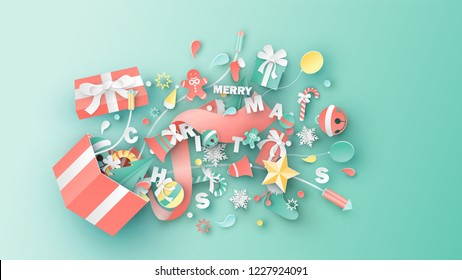 Illustration of gift box design with Christmas elements spread out. Surprise open gift box for Christmas. Graphic design for Christmas season. paper art design. vector, illustration.