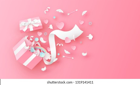 Illustration of gift box design with Valentine's elements splash. Surprise open gift box for Valentine's day. paper cut and craft style. vector, illustration.