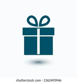 Illustration of gift box icon on background. Christmas gift icon illustration vector symbol. Present gift box icon. Package in gift wrap, vector eps 10 - box icon