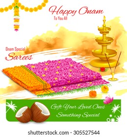 illustration of gift of saree in Happy Onam