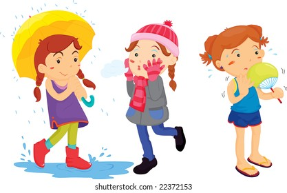 Illustration of a girl in 3 climates