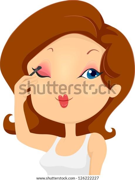 Illustration of a Girl Applying Eyeshadow Makeup on Eyelids