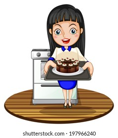 Illustration of a girl baking a cake on a white background