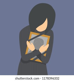 Illustration of a Girl In Black Crying and Holding a Framed Photo of a Deceased Person
