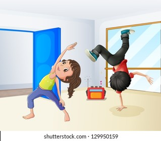 Illustration of a girl and a boy dancing