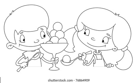illustration of a girl and boy with ice cream outlined