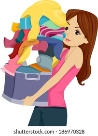 Illustration of a Girl Carrying a Huge Pile of Laundry