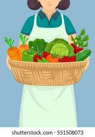 Illustration of a Girl Carrying a Large Basket Full of Fruits and Vegetables