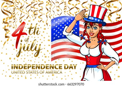 illustration of a girl celebrating Independence Day Vector Poster. 4th of July Lettering. American Red Flag on Blue Background with Stars confetti art
