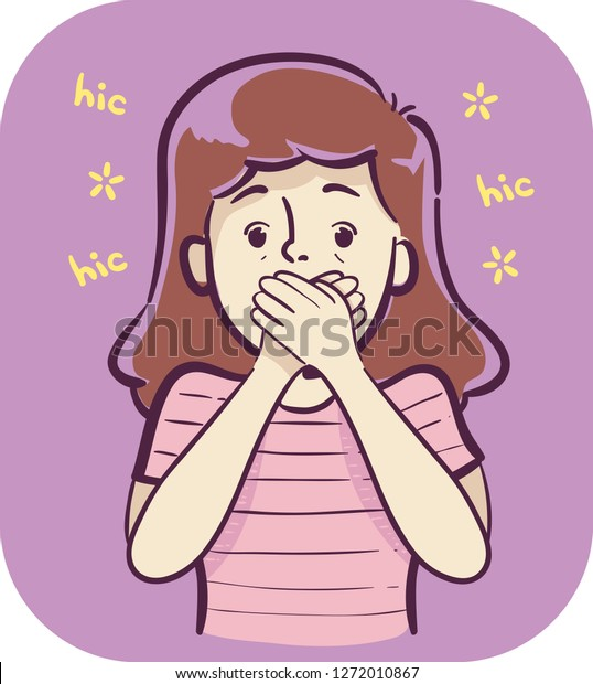 Illustration of a Girl Closing Her Mouth with Hiccups