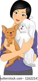 Illustration of a Girl Cuddling a Shih Tzu and a Chihuahua