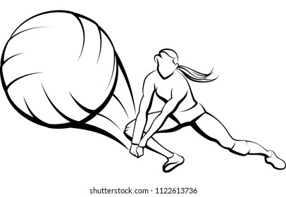 Illustration of a girl digging a volleyball. There is a white backing behind the black outlines. Global color swatches used to make it easy to change colors.