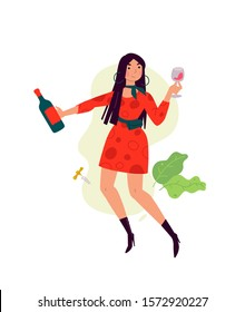 Illustration of a girl in a dress with a glass of wine. Vector. A woman celebrates a holiday, drinks wine and dances. Rest and party. Fun all night. A little bit drunk lady, without complexes.