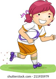 Illustration of a Girl Dressed in Rugby Gear Running Across a Field