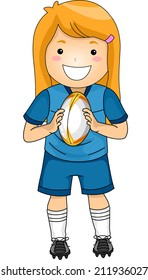 Illustration of a Girl Dressed in Rugby Gear
