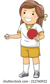 Illustration of a Girl Dressed in Table Tennis Gear