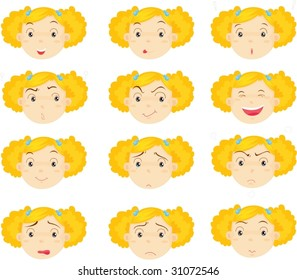 illustration of girl faces in various moods