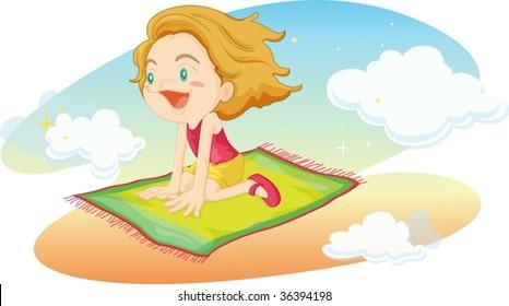 illustration of girl flying on mat