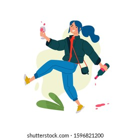 Illustration of a girl with a glass of wine and a bottle. Vector. A woman celebrates a holiday and runs to a meeting with her friends. Rest and party. A little bit drunk lady, without complexes.