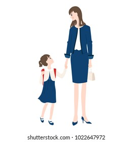 Illustration of a girl going to an elementary school entrance ceremony with a mother.