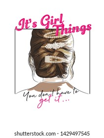 Illustration of a girl hairstyle with pearl clips. Destinated for t-shirt design and print.