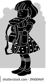 Illustration of girl hands of bag