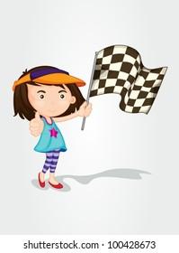 Illustration of a girl hold race flag