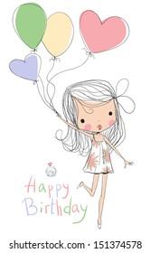 Illustration of a Girl Holding Birthday Balloons