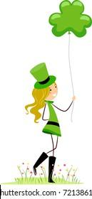 Illustration of a Girl Holding a Shamrock-shaped Balloon