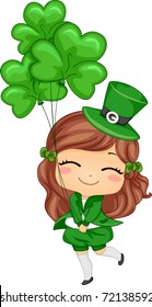 Illustration of a Girl Holding Shamrock-shaped Balloons