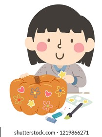 Illustration of a Girl Holding a Star Sticker Decorating a Pumpkin in the Fall with Paint Brush