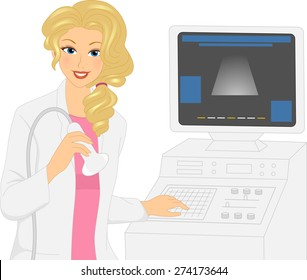 Illustration of a Girl holding a Transducer Probe of an Ultrasound Machine