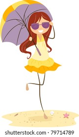 Illustration of a Girl Holding an Umbrella