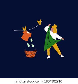 Illustration of a girl in a Laundry service and hanging wet clothes. Vector image of a character hanging wet clothes. Cleaning yourself, drying your clothes, taking care of your clothes in the Laundry