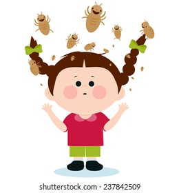 Illustration of a girl with lice on her head.