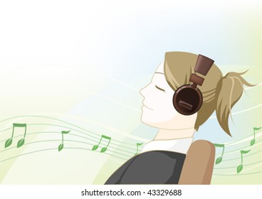 Illustration of a girl listening to music with an earphone.