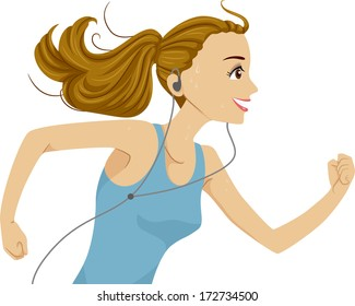 Illustration of a Girl Listening to Music While Running