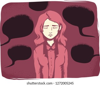 Illustration of a Girl Looking Sad and Depressed with Dark Black Speech Bubbles Around Her. Verbal Harassment