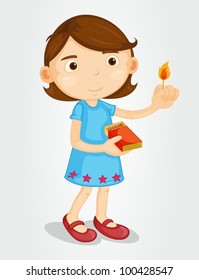 Illustration of a girl with matches