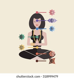 Illustration of a girl meditating with chakras.