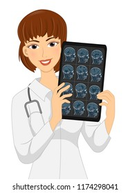 Illustration of a Girl Neurologist Doctor Holding Head Xray and Wearing White Gown and Stethoscope