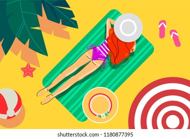 illustration of a girl on a green towel sunbathing on the beach