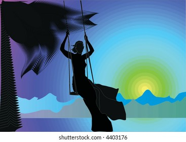 illustration with girl on swing silhouette