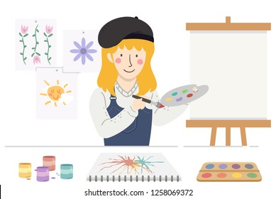 Illustration of Girl Painter Holding Palette and Paint Brush Teaching Art with Paints, Sample Art and Blank Canvass