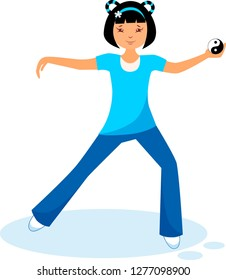 Illustration of a girl performing tai chi and qigong exercises with tai chi ball