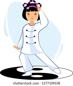 Illustration of a girl performing tai chi and qigong exercises