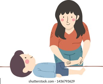 Illustration of a Girl Physical Therapist Massaging a Kid Boy with Muscular Dystrophy
