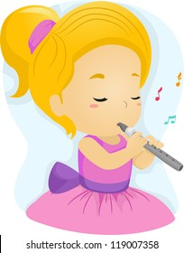 Illustration of a Girl in a Pink Dress Playing the Flute