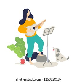 Illustration of a girl playing an acoustic guitar. Vector. Flat cartoon style. Music lessons. The dog listens to the game of the hostess on a musical instrument. Education and study at home. Hobby.