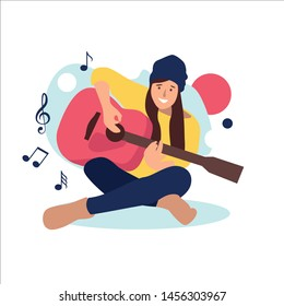 Illustration of a girl playing an acoustic guitar. Vector. Flat cartoon style. acoustic lessons. Education and study at home. Hobby.